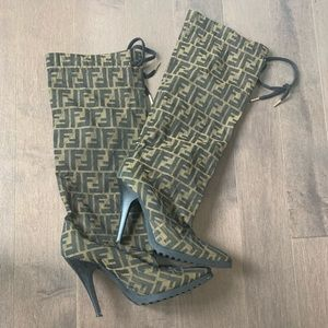 Fendi Monogram Zucca print Knee High boots